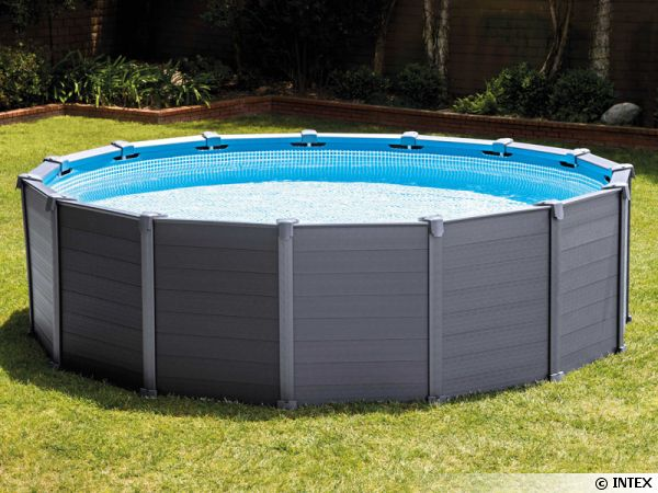 Piscine graphite intex r sistante et ultra tendance - Habillage piscine hors sol intex ...