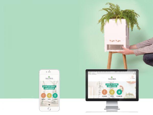 1er pot de fleur composteur connect. Black Bedroom Furniture Sets. Home Design Ideas