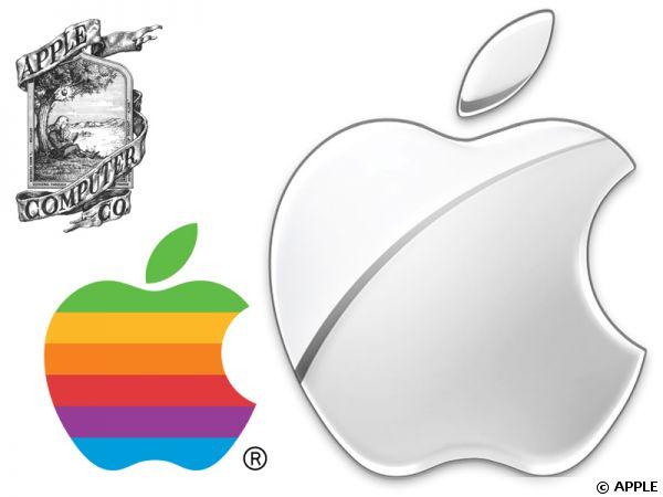 La pomme à travers les logos d'Apple