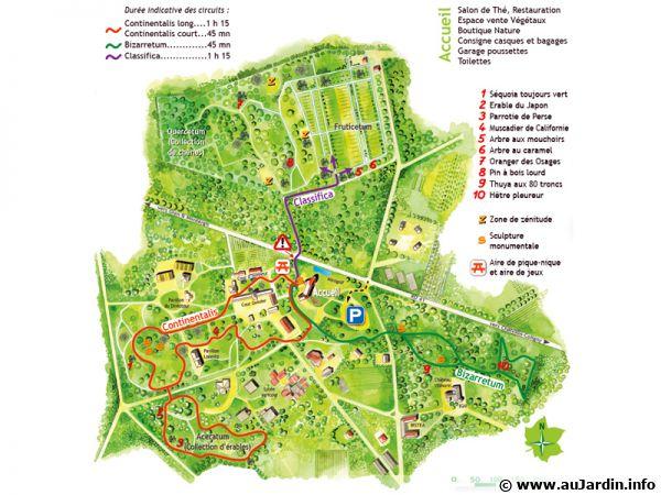 Carte de l'Arboretum des Barres