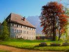 Le Château des Allues et son hêtre pourpre au printemps