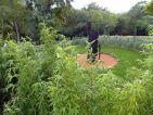 Jardin des Oules, sculpture monumentale de Michel Wohlfahrt dans le labyrinthe