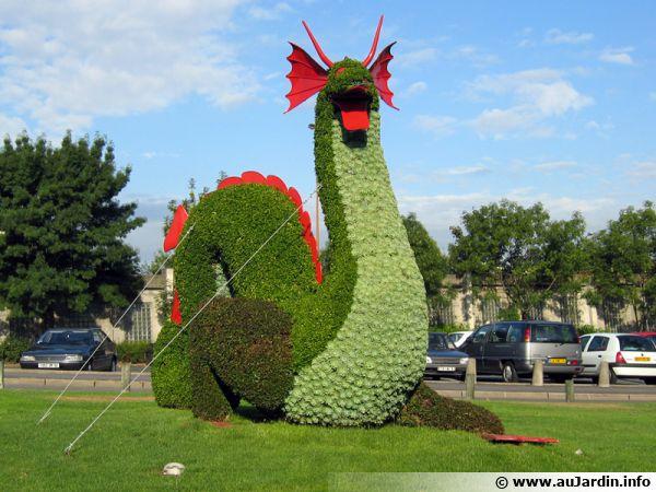Le dragon en mosaïculture une fois son installation achevée !
