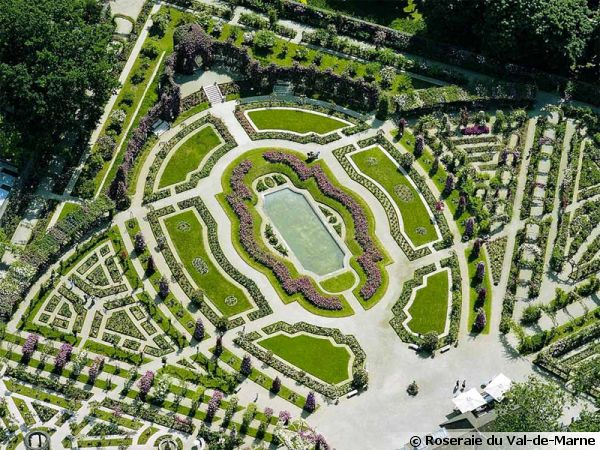 La roseraie du Val-de-Marne, vue aérienne