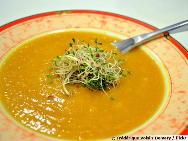 Soupe de légumes aux graines germées et flocons d'avoine