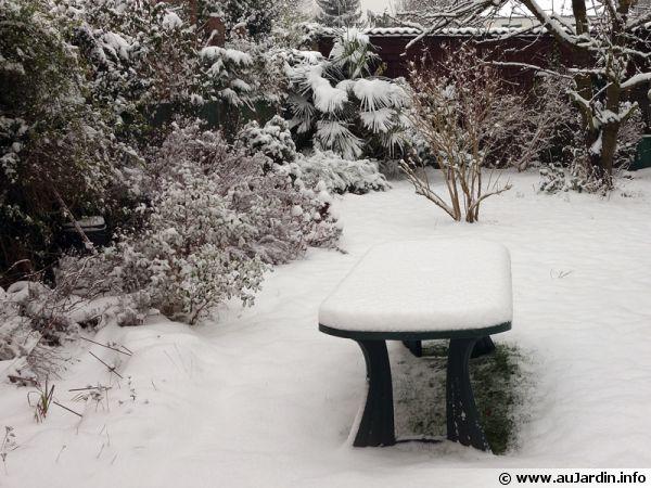 Une bonne couche de neige vient de tomber dans le jardin