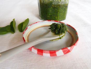 Conserve de basilic au sel et à l'huile d'olive