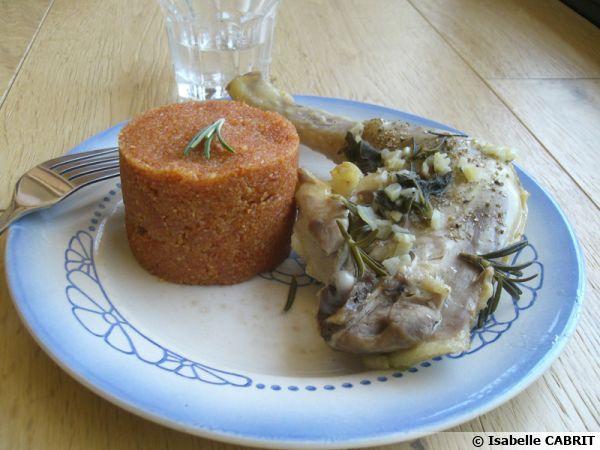 Cuisses de poulet vapeur au romarin et polenta
