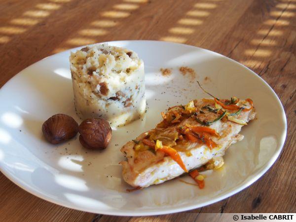Escalope de dinde et pur e de panais aux marrons recette - Cuisiner escalopes de dinde ...
