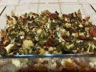 Gratin de chou-fleur, mozzarella, pesto et bacon