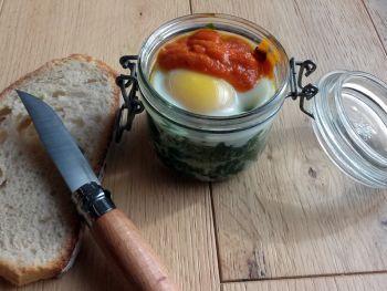 Oeufs cocotte aux blettes et sauce tomate aux épices