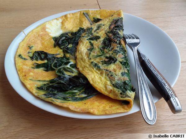 Omelette aux feuilles de blette et curcuma