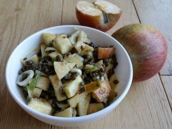 Salade de lentilles aux pommes, à la vinaigrette au sirop d'érable