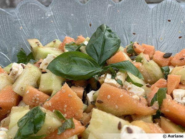 Salade de melon concombre fêta