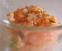Verrine au saumon et queues de crevettes